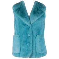 Prada Womens Aqua Blue Double Pocket Mink Fur Silk Lined Vest