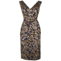 Prada Womens Navy Floral Jacquard Waist Bow Sleeveless Midi Dress