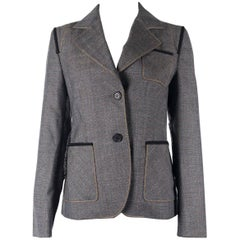 PRADA Womens Wool Grey Checked Woolen Elbow Patch Sports Coat