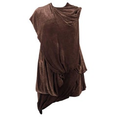 Rick Owens Womens Brown Draped Velvet Waist Band Sleeveless Tunic