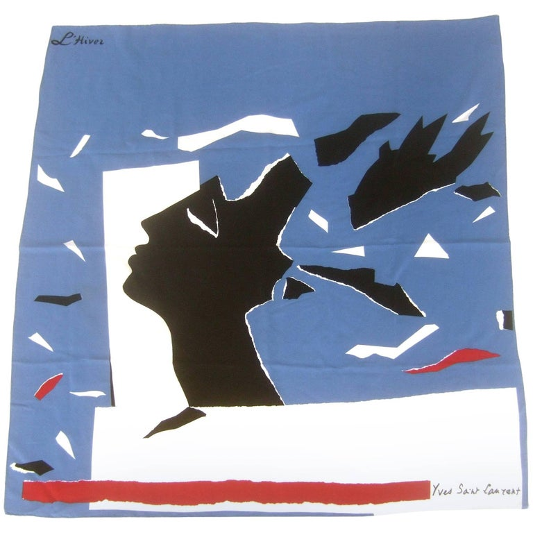 Yves Saint Laurent Vintage Silk L' Hiver Hand Rolled Scarf, circa 1970s