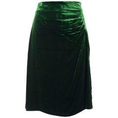 Prada Womens Green Velvet Ruched Side Silk Lined Midi Skirt