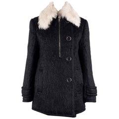 Alexander Wang Womens Black Lamb Shearling Fur Wool Coat Sz 0~RTL $2500