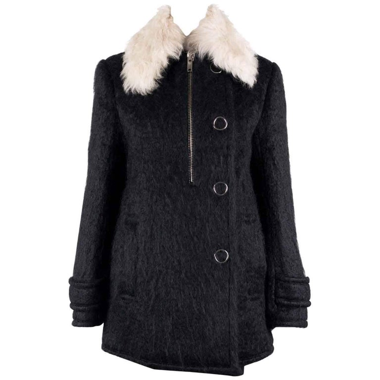 a9beb2103 Alexander Wang Womens Black Lamb Shearling Fur Wool Coat Sz 0~RTL  2500 For  Sale