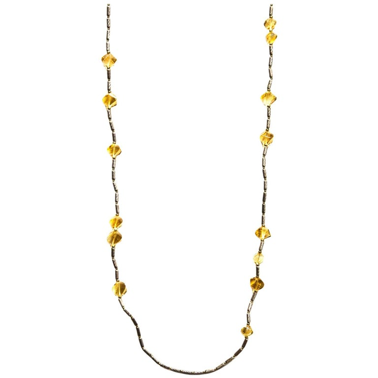 David Yurman 18K & Sterling Twisted Citrine Bead Station Necklace