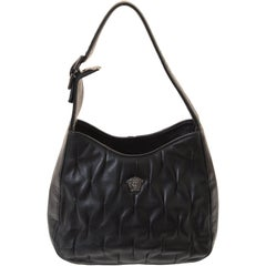 Versace Couture Evening Bag with Medusa Black Quilted Lambskin Leather 1990s