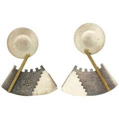 Geometric Memphis Style Silver and Brass Earrin