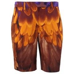 PRADA S/S 2005 Brown & Gold Feather Print Silk Bermuda Shorts