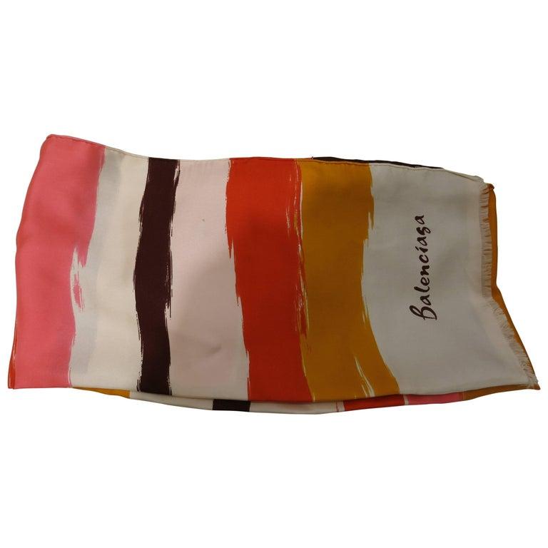 """Balenciaga 1960s """"Watercolor"""" Stripe Silk Scarf"""