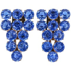 c.1930's 2 Piece Sapphire Blue Crystal Rhinestone Dress / Fur Clips Set