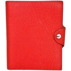 Hermes Red Togo Leather Ulysse PM Notebook Cover w/ Insert