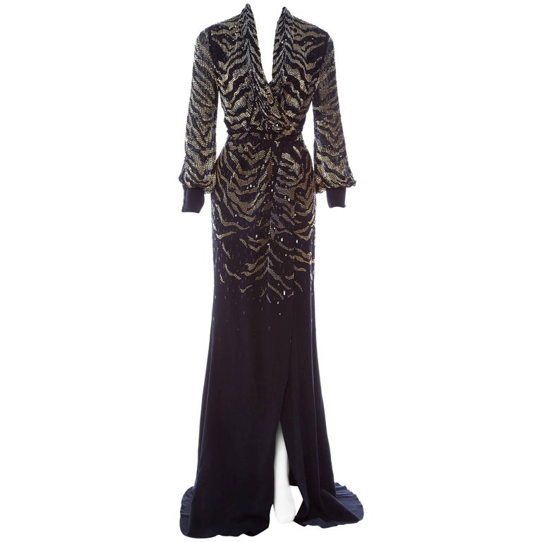 New $6950 Roberto Cavalli Tiger Silk Beaded Embellished Kimono Dress Gown It. 38