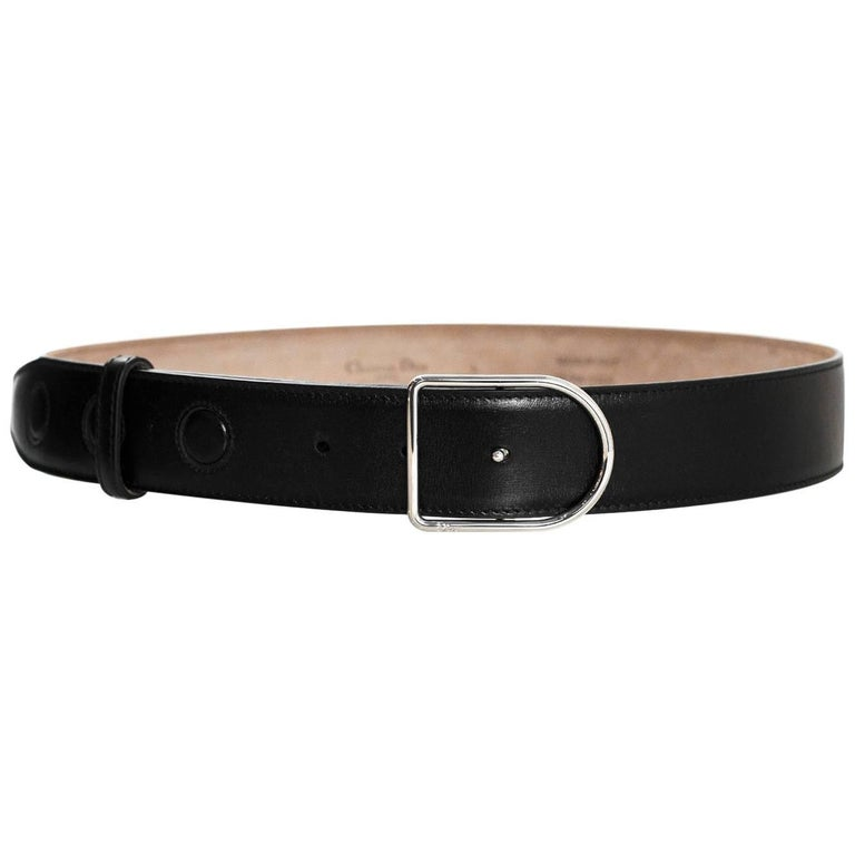 Christian Dior Black Leather 35mm Belt with D Buckle Sz Large NWT
