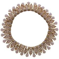 TRIFARI 1960s Faux Moonstone and Diamante Statement Necklace
