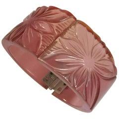Translucent PINK Dichroic Changer Bakelite Floral Carved Hinged Bracelet
