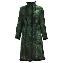 Tom Ford for Gucci 1999 Collection Reversible Emerald Green Fur Coat It. 40