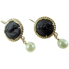 Bronze and glass earrings by Patrizia Daliana