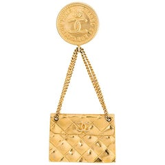 Chanel Gold Tone Handbag Brooch, c2005