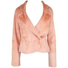 Stunning Gianni Versace Couture Blush Pink Nude Fur Jacket