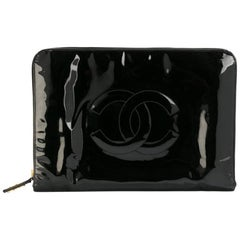 Chanel Black  Patent Leather Logo Large Clutch