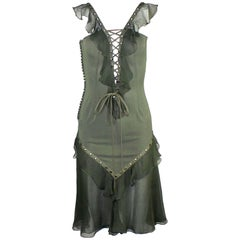 Breathtaking Christian Dior by John Galliano Deep Cleavage Laceup Silk Dress