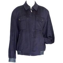 Zilli Men's Cashmere Bomber Jacket Fur Lined Marine Navy  58