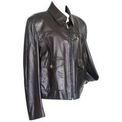Zilli Men's Leather Jacket Black Weightless Lambskin Silk Lining 56