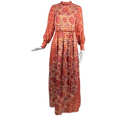Dior Boutique Paris by Marc Bohan numbered 1960s metallic brocade maxi dress