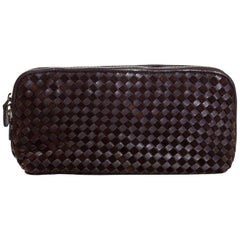 Bottega Veneta Brown Suede & Leather Intrecciato XL Cosmetic Case/Clutch Bag