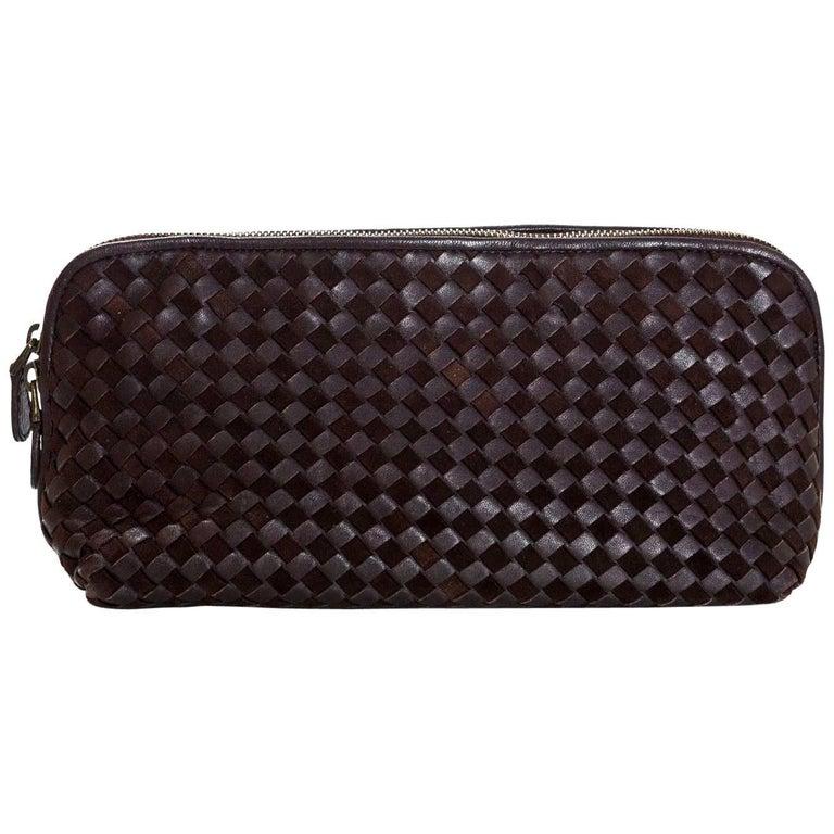 Bottega Veneta Brown Suede & Leather Intrecciato XL Cosmetic Case/Clutch Bag