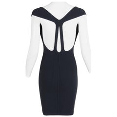 Alaia Black Stretch Bodycon Sleeveless Mini Dress W/Cutout Back Detail