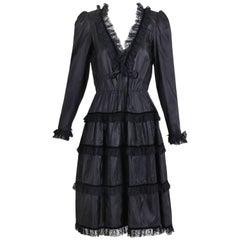 Jean Louis Scherrer Vintage Black Silk Taffeta V-Neck Dress with Lace Trim