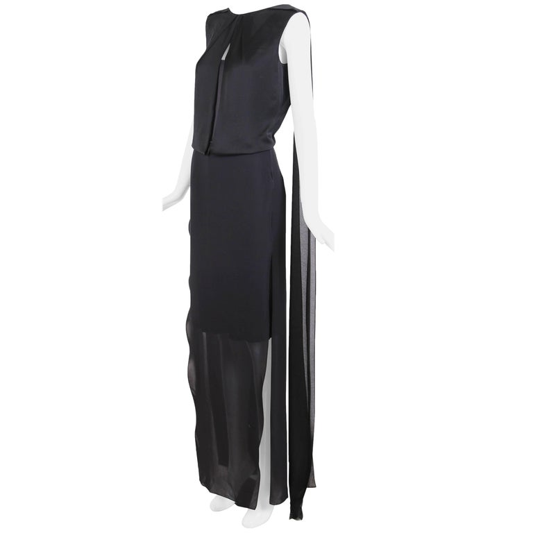 Tom Ford Black Silk Sheath Gown with Deep V-Back and  Scarf Attachments at Back