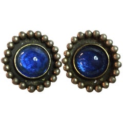 1980s CHANEL Ultra BLUE POURED GLASS Clip On Earrings