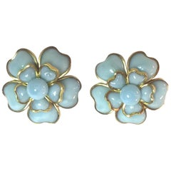 1960s Gripoix French Pale Blue Poured Glass Clip On Earrings