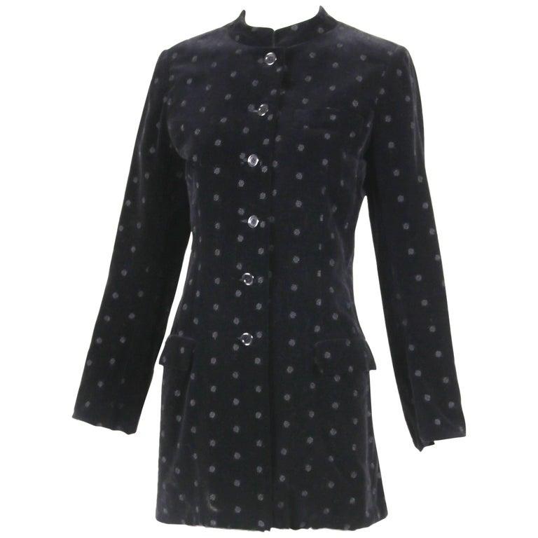 Yves Saint Laurent YSL Black Velvet Rose Print Jacket Blazer, 1970s