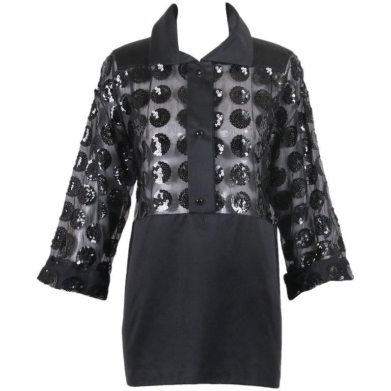 Courreges Black Mini Dress with Sheer Bodice and Pattern of Circular Sequins