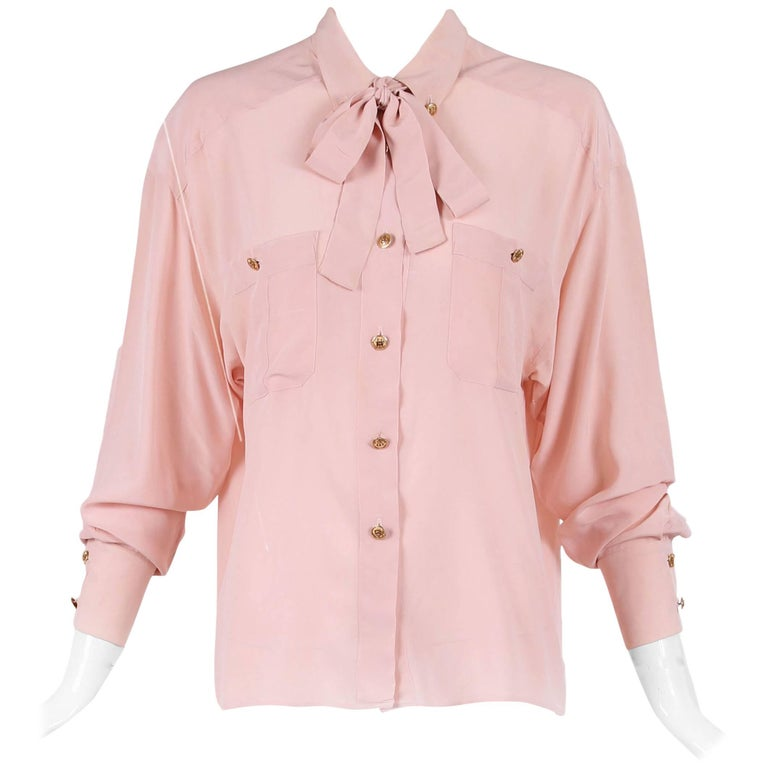 Vintage Chanel Pale Pink Silk Blouse W/Gold-toned CC Logo Buttons