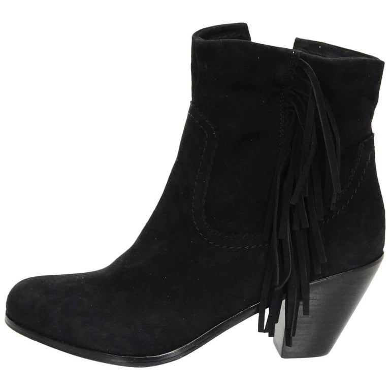 549ee2a9d3645 Sam Edelman Black Suede Louie Fringe Ankle Boots Sz 8M at 1stdibs