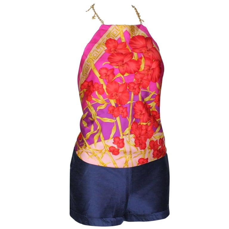 Gianni Versace Couture SS 2000 Jungle Palm Silk Top Hot Pants Shorts 3 PCS Set