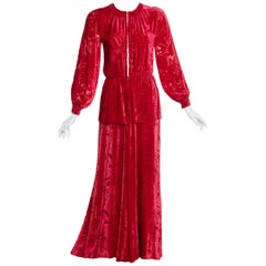 Thea Porter Couture Red Silk Velvet Dress, 1970s