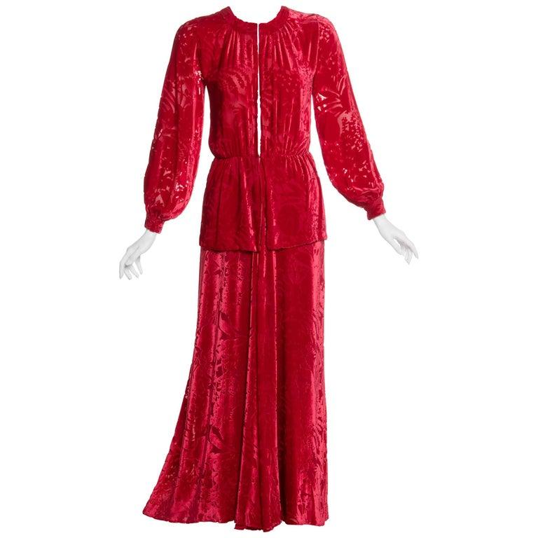 1970s Thea Porter Couture Red Silk Velvet Dress