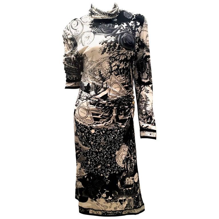 Leonard Paris black and cream silk jersey dress