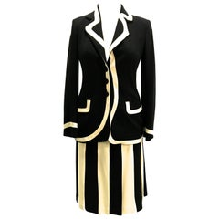 Moschino Couture Black and Creamy 2 Piece White Suit