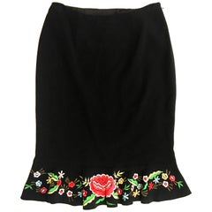 Moschino Skirt - Like New - Black  Skirt with Floral Trim
