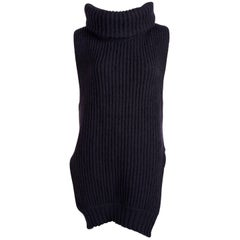 Celine by Phoebe Philo navy blue wool and cashmere runway tunic sweater
