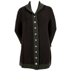 Azzedine Alaia navy blue and green wool cardigan sweater, 1990s
