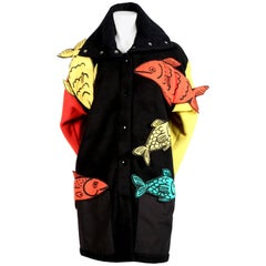 Jean Charles de Castelbajac color-blocked coat with 3-D fish, 1980s