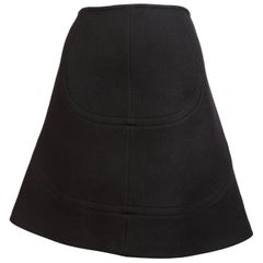 Azzedine Alaia black wool A-line skirt