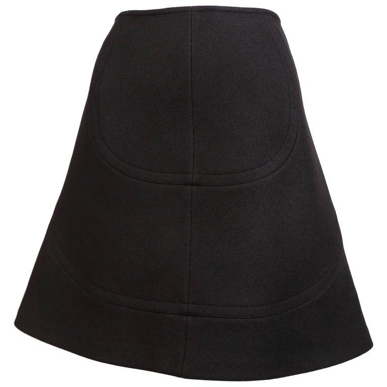 Azzedine Alaia black wool A-line skirt